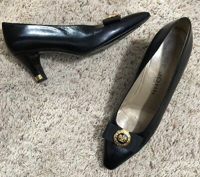 Vintage St. John shoes pumps bow on toe gold Button leather Size 7.5 B