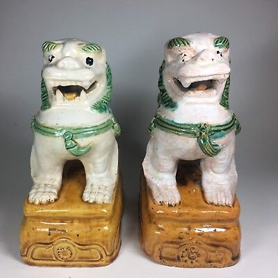 Vintage Pair of Chinese Imperial Lions, or Foo-Dogs, Hand Painted Marked