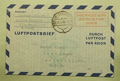 Dr Who 1949 Germany To Usa Aerogramme Postage Paid C23344
