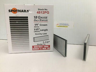 "Spot Nails 4812PG L/90 18 Gauge 1/4"" Crown,1-1/2"" leg. 5M/B. 2B/C. Sale By 2 BOX"