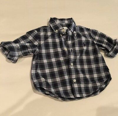 Baby Boy Polo Ralph Lauren Oxford Button Down Shirt Long Sleeve Striped 6 Month