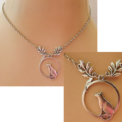 Cat  Necklace Mouse Silver Pendant Jewelry Handmade NEW Chain Adjustable Woman