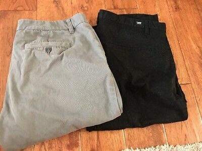 Lot Of 2 Lee Pendleton Size 36/34 Mens Pants Flat-Front