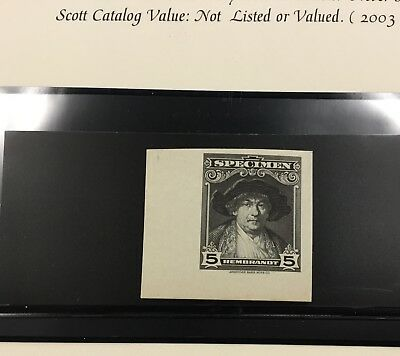 {BJ STAMPS} AMERICAN BANK NOTE Co. 5¢ Black REMBRANDT SPECIMEN  ESSAY