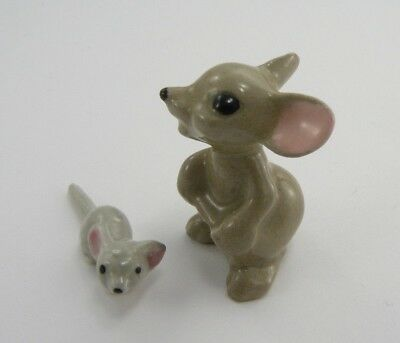 Vtg LOT 2 Miniature Mouse Mice Hagen Renaker Animal Figurine Ceramic Mama Baby