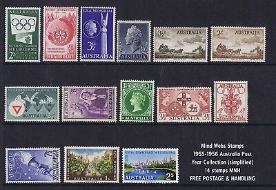 Australian Pre-Decimal Stamps 1955-1956 Year Collection (14) MNH