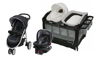 Graco Baby Stroller Car Seat Infant Playard Crib Travel System Set Combo Black