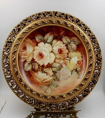 Antique Limoges Roses  Hand Painted Framed Plaque Tray Charger