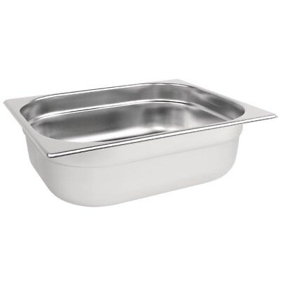 Vogue Stainless Steel 1/2 Size Gastronorm Pan Bain Marie Pot Choose Depth