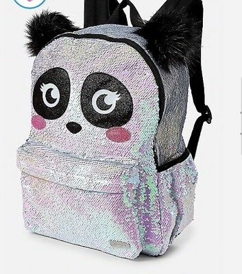 Justice Panda Flip Sequin Backpack- New!full Size Perfect For Camp/school🐼🐼