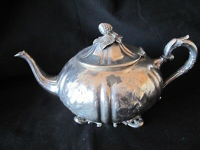 Antique  Large English Silver Plate Teapot