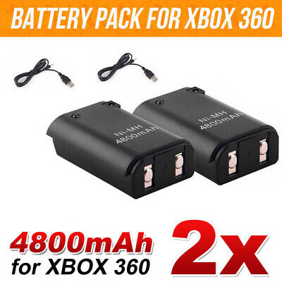 Battery Charger Pack Wireless Rechargeable Controller USB Cable For Xbox 360 2x
