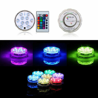 10 LED submersible Multi Color Waterproof Wedding Party Vase Base Light + Remote