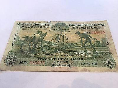 1929 Ploughman Irish Banknote- The Hibernian Bank - Unique Serial # - Check !!