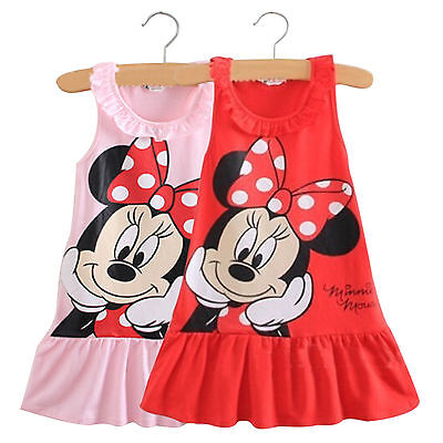 Cute Baby Girl Minnie Mouse Dress Kids Cartoon Tops Clothes Skirt Dress 0-5Years