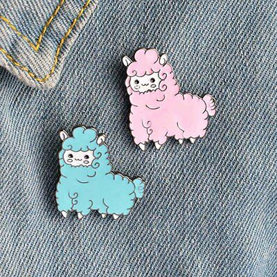 1pc Lovely Cartoon Pink Blue Sheep Shaped Metal Brooches Brooch Bouquet Pin Gift