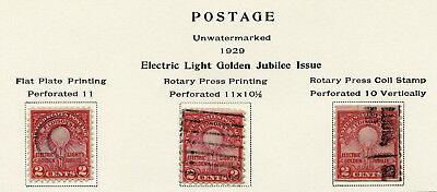 1929 USA.  50th Anniv of Edison's First Electric Lamp.  3 varieties x 2c USED.