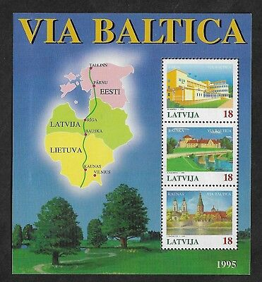 LATVIA 1995 Via Baltica Motorway Project, mint mini sheet, MNH MUH