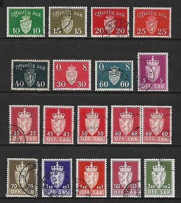 NORWAY 1937-1955 Official stamps, used