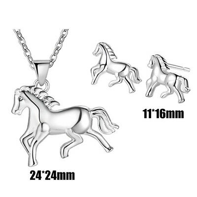 Women Fashion Horse Pendant Earrings Animal Necklace Clavicle Chains Jewelry