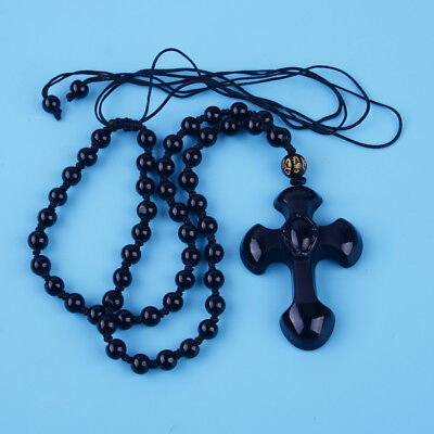 National Style Natural Black Obsidian Carved Cross Lucky Pendants Beads Necklace