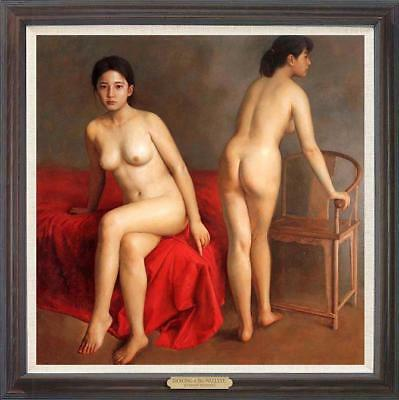 """Hand-painted Original Oil Painting art Portrait nude Girl on canvas 36""""x36"""""""