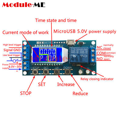 DC 5V Trigger Power Off Time Delay Cycle Timing Circuit Switch Relay LCD Module