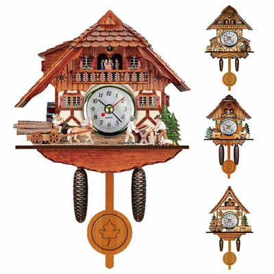 Vintage Wooden Cuckoo Wall Clock Bird Time Bell Swing Alarm Watch Home Decor New