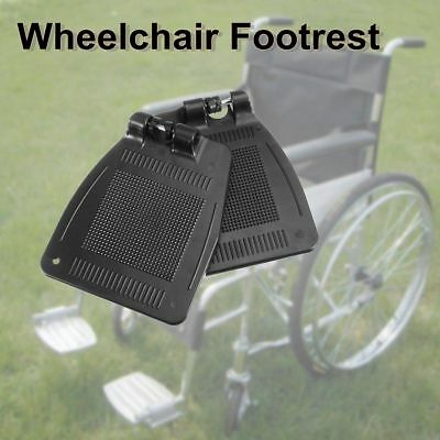 2PCS Blcak Wheelchair Footrest Pedal Wheelchair Accessory ABS Plastic 19 X 16CM