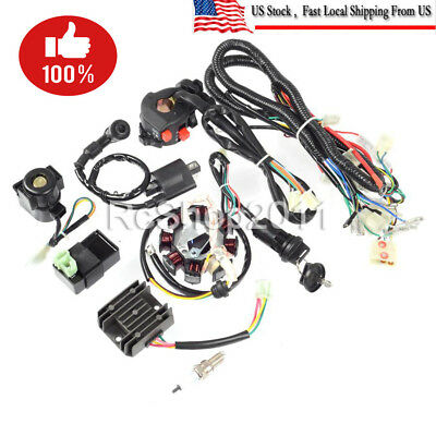complete electrics wiring harness wire loom atv quad 150 200 250cc rh picclick com