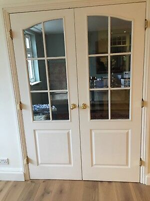 Double Wooden Internal Doors With Glass Panels 099 Picclick Uk