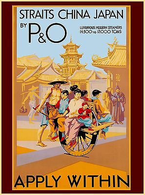 Straights  China Japan By P & O Vintage Asia Asian Travel Advertisement Poster