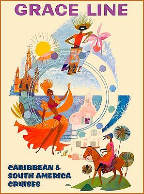 Grace Line Caribbean Island Cruise Vintage Travel Advertisement Art Poster Print