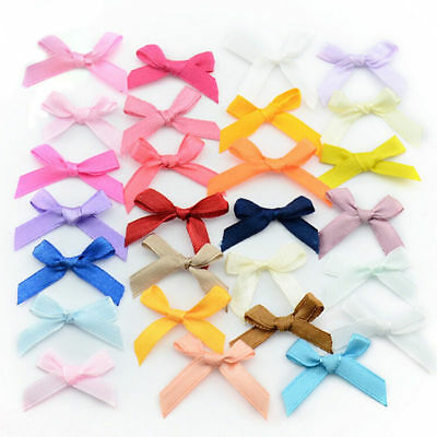 10-500 PCS 7mm Satin Mini Ribbon Bows Party Gift Crafts Wedding Pre-Tied Bow