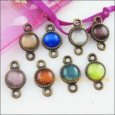8Pcs Mixed Retro Antiqued Bronze Cat Eye Stone Round Charms Connectors 10x18.5mm