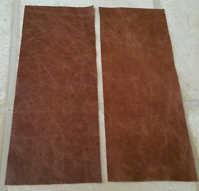 "Rustic Tan 14""x5.5"" Top Quality  leather 2 offcuts  1.1mm Craft patch repair"