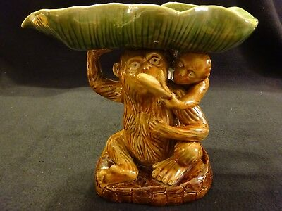 Monkey with Baby Glazed Ceramic Statue Holding Leaf and Banana
