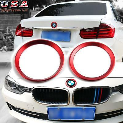 (2) Red Metallic Front Rear Logo Ring Covers Trims For BMW 3 4 Series M3 M4 E90