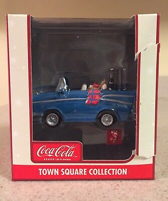 2003 Coca Cola Town Square Collection Blue Convertible W/ Picnic Basket In Back