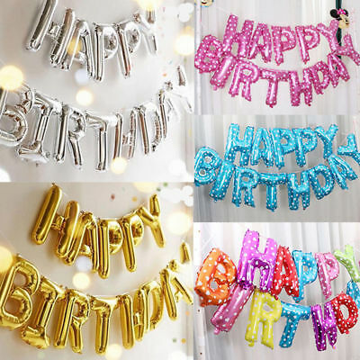 "HAPPY BIRTHDAY16"" inch SELF-INFLATING BALLOON BANNER BUNTING PARTY LARGE BALOONS"
