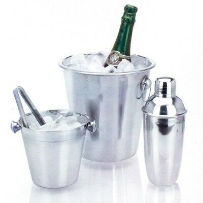 Stainless Steel Champagne / Wine Cooler / Ice Bucket & Cocktail Shaker Set