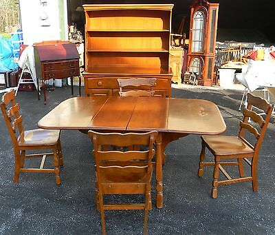 Vtg Antique Hampshire House Colonial Rock Maple Dining Table Chair & Hutch Set