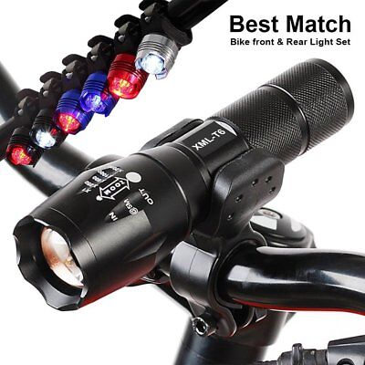 Bicycle T6 LED Adjustable Front Torch + Red Rear Light Set Bike Cycling Lamp Kit