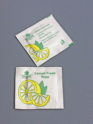 100x LEMON HAND WIPES Scented Fresh Cold INDIVIDUALLY Microwavable Wrapped Dries