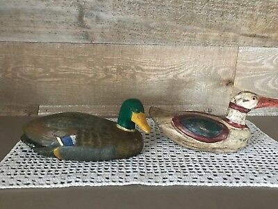 Vintage Handcarved Handpainted Wooden Duck Decor Set of Two