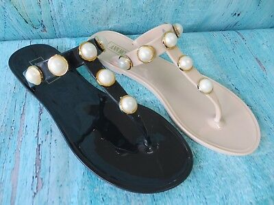 """New Women """"Cartagena"""" Jelly Sandals Flip Flop Slip On with Pearls by Ann More"""