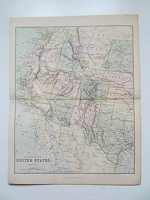 """VINTAGE MAP OF UNITED STATES  c1890- """"THE GALLERY OF GEOGRAPHY"""" ATLAS 10X13inch"""