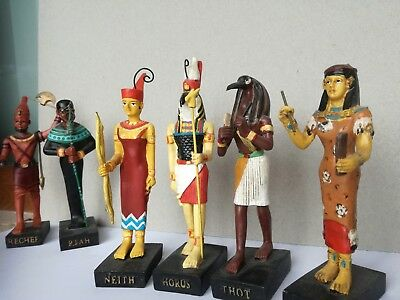 Ancient Egyptian Decor Miniature. Set of statue of four Figures, horus, sechat