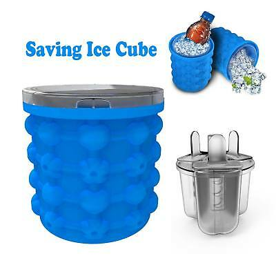 Silicone Ice Cube Maker Genie Saving Ice Cubes Storage Space Mould Bucket Round