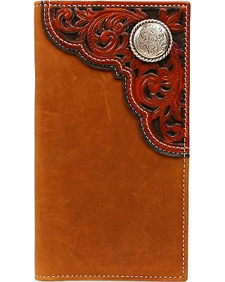 Ariat Western Mens Wallet Trifold Leather Rawhide Knot Concho Aged Bark A3527444